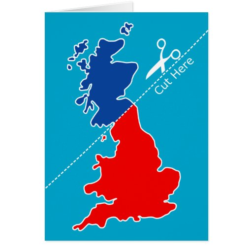 """Scottish Independence, """"Cut here"""" map Greeting Cards"""