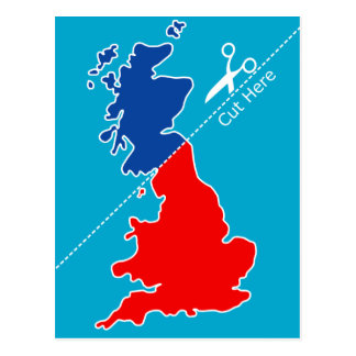 "Scottish Independence, ""Cut here"" map Postcard"