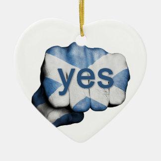 Scottish Independence Fist Ceramic Heart Decoration