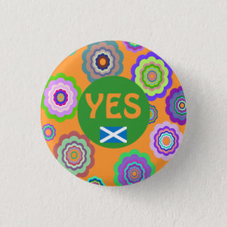 Scottish Independence Flower Power Saltire Badge