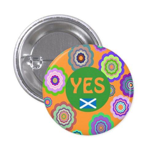 Scottish Independence Flower Power Saltire Badge Pinback Buttons