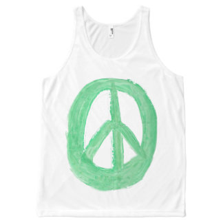 Scottish Independence Green CND No Nukes Symbol All-Over Print Tank Top