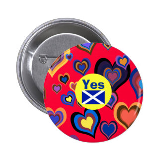 Scottish Independence Hippie Yes Heart Badge Pins