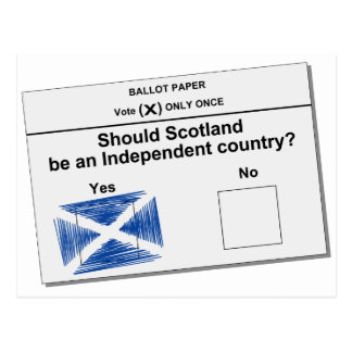 Scottish Independence Referendum Question Postcard