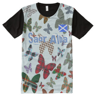 Scottish Independence Saor Alba Tartan Butterfly T All-Over Print T-Shirt