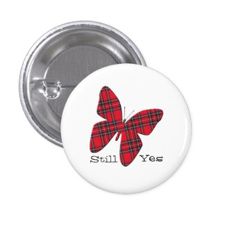 Scottish Independence Tartan Butterfly Badge Buttons