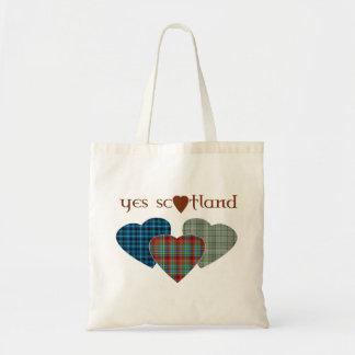 Scottish Independence Tartan Love Hearts Tote Bag