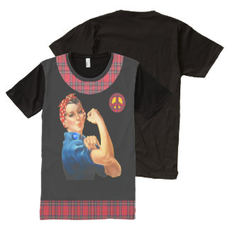 Scottish Independence Tartan Rosie Peace Tee All-Over Print T-Shirt