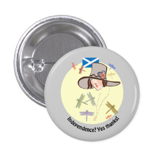 Scottish Independence Yes Thanks Dragonfly Girl 3 Cm Round Badge