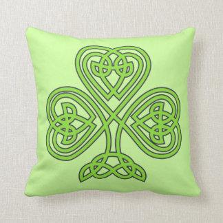 Scottish Irish Shamrock Celtic Green Knot Pattern Cushions