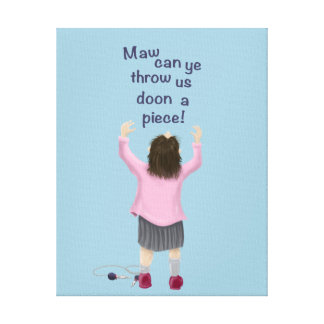 Scottish 'jeely piece' kid stretched canvas print