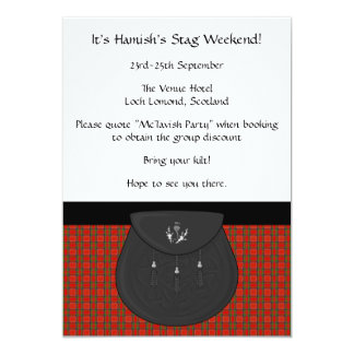 Scottish Kilt and Sporran Stag Weekend Party 13 Cm X 18 Cm Invitation Card