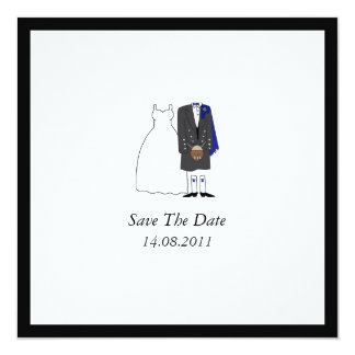 Scottish Kilt Bride & Groom Blue Save the Date 13 Cm X 13 Cm Square Invitation Card