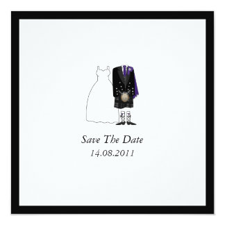 Scottish Kilt Bride & Groom Purple Save the Date Card