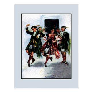 Scottish kilt dance book illustration postcards
