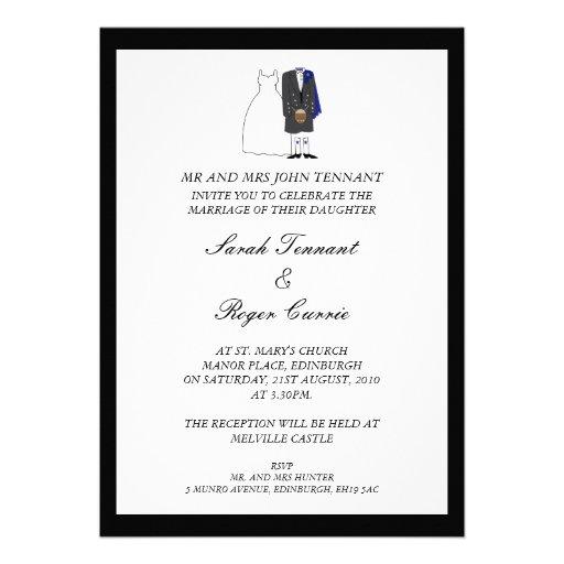 Scottish Kilt Wedding Invitation - Blue