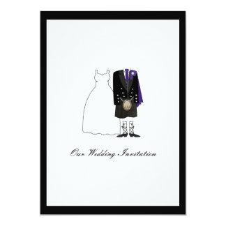 Scottish Kilt Wedding Invitation - Purple