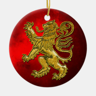 Scottish Lion Gold Red Christmas Ornament