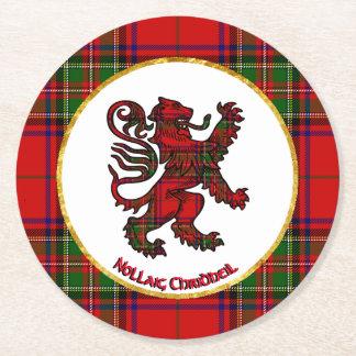 Scottish Lion Nollaig Chridheil Round Paper Coaster