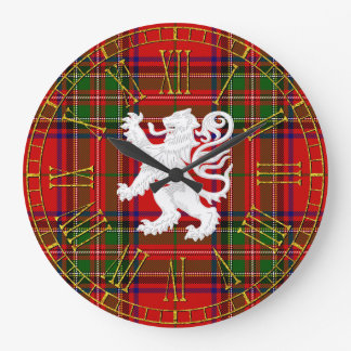 Scottish Lion Rampant on Tartan Large Clock
