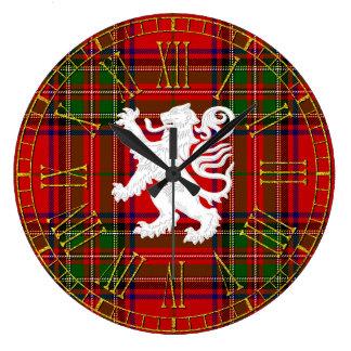 Scottish Lion Rampant on Tartan Wallclock
