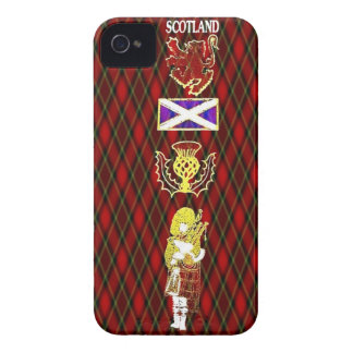 Scottish Lion,Thistle,Flag and Piper on Red Tartan iPhone 4 Case-Mate Cases