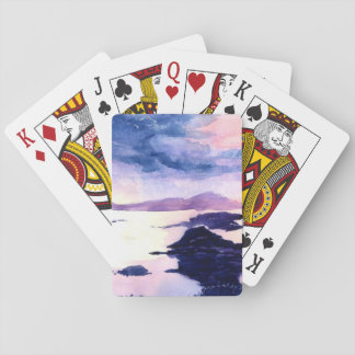 Scottish Loch Purple Watercolour Playing Cards
