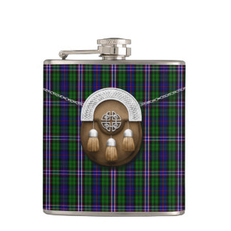 Scottish National Tartan And Sporran Hip Flask
