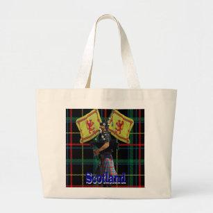 Scottish piper on tartan large tote bag e8d808849cec9