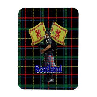 Scottish piper on tartan rectangular photo magnet