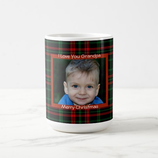 Scottish Plaid, Red,Merry Christmas, Custom Photo, Coffee Mug