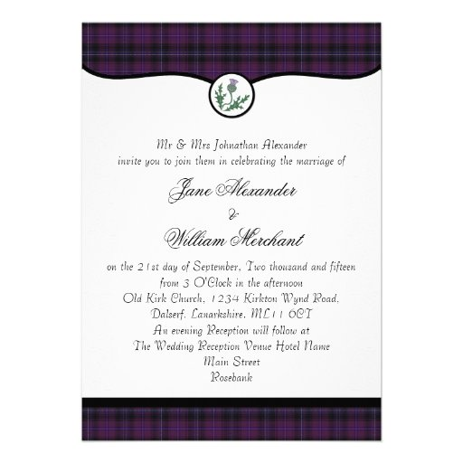 Scottish Purple Tartan Plaid & Thistle Wedding Personalized Invites
