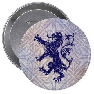 Scottish Rampant Lion Navy Blue Celtic Knot 10 Cm Round Badge