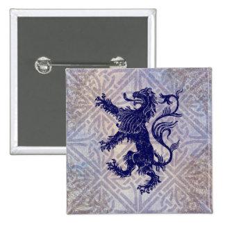 Scottish Rampant Lion Navy Blue Celtic Knot 15 Cm Square Badge