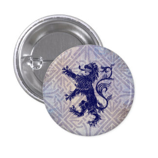 Scottish Rampant Lion Navy Blue Celtic Knot 3 Cm Round Badge