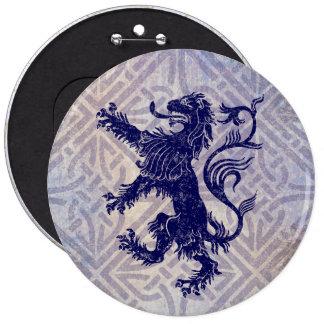 Scottish Rampant Lion Navy Blue Celtic Knot 6 Cm Round Badge