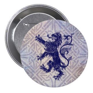 Scottish Rampant Lion Navy Blue Celtic Knot 7.5 Cm Round Badge