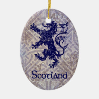 Scottish Rampant Lion Navy Blue Celtic Knot Christmas Ornament