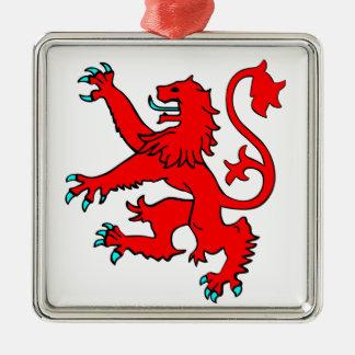 Scottish Rampant Lion Silver-Colored Square Decoration
