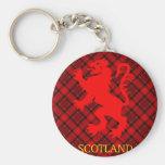 Scottish Red Lion Rampant on Tartan Keychain