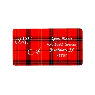 Scottish Red Tartan Plaid Fabric With Monogram Address Label
