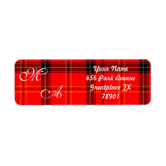 Scottish Red Tartan Plaid Fabric With Monogram Return Address Label