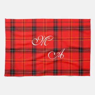 Scottish Red Tartan Plaid Fabric With Monogram Tea Towel