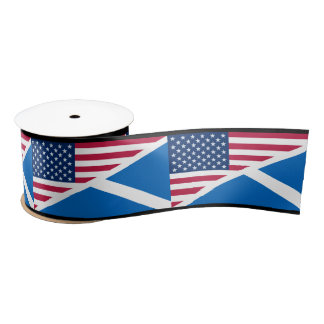 Scottish Saltire and American Flag Ribbon Satin Ribbon