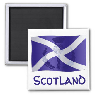 Scottish Saltire Flag with Celtic Knot Thistle Square Magnet