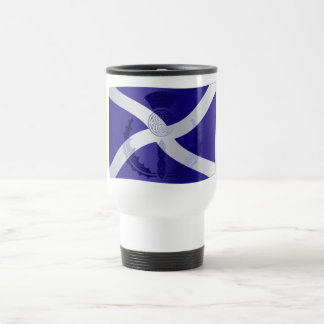 Scottish Saltire Flag with Celtic Knot Thistle Stainless Steel Travel Mug