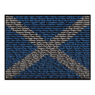 Scottish surnames postcard
