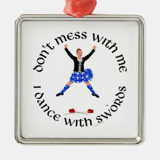 Scottish Sword Dancer - Ghillie Callum Silver-Colored Square Decoration