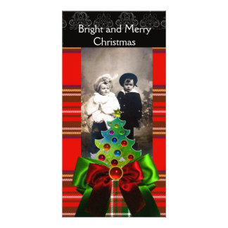 SCOTTISH TARTAN,CHRISTMAS TREE AND RED GREEN BOWS CUSTOM PHOTO CARD