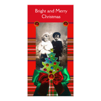 SCOTTISH TARTAN,CHRISTMAS TREE AND RED GREEN BOWS PERSONALISED PHOTO CARD